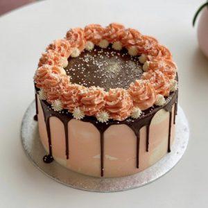 Swirls Drip Cake 20cm Peach