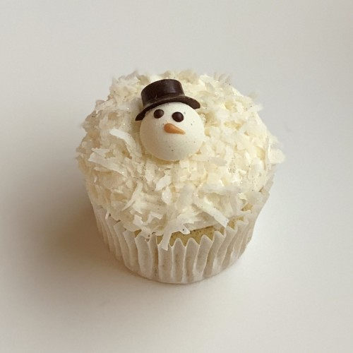 Frosty The Snowman Coconut Cupcake