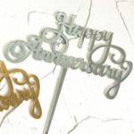 Cake topper – HAPPY ANNIVERSARY – Silver