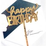Cake Topper – HAPPY BIRTHDAY – Gold