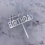 Cake Topper – BIRTHDAY – Silver