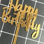 Cake Topper – HAPPY BIRTHDAY – Gold